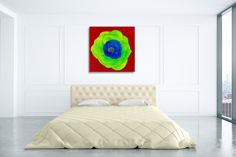 Green Flower Abstract Art on Canvas