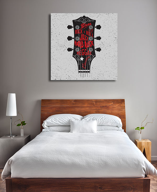 Guitar Typography Prints Canvas