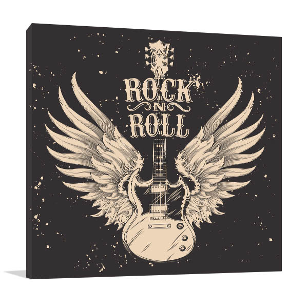 Guitar With Wings Prints Canvas