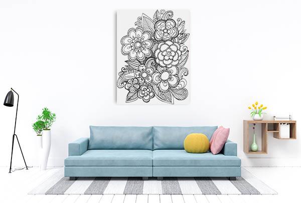 Hand Drawn Bouquet Canvas Prints