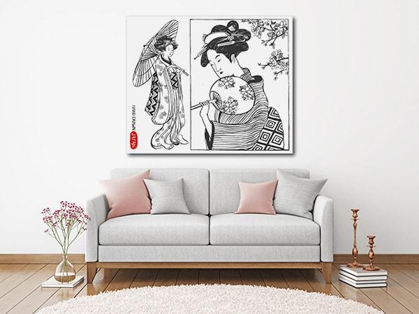 Hand Drawn Geisha Art Print on the Wall