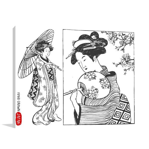Hand Drawn Geisha Print Artwork