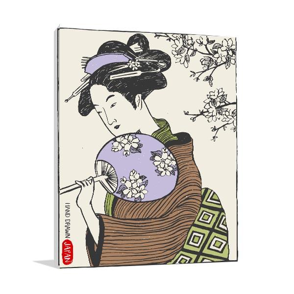Hand Drawn Geisha Canvas Prints