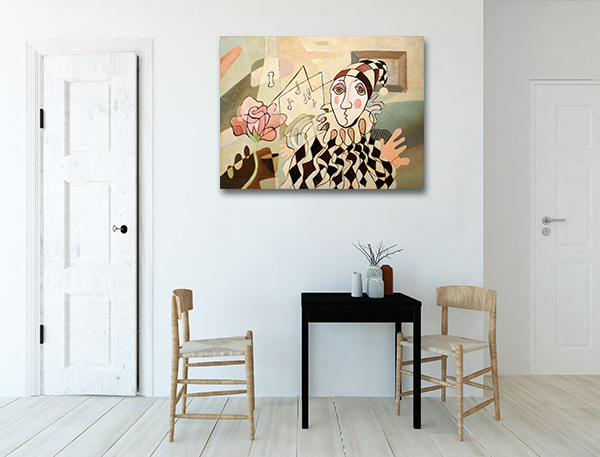 Harlequin and Rose Canvas Prints