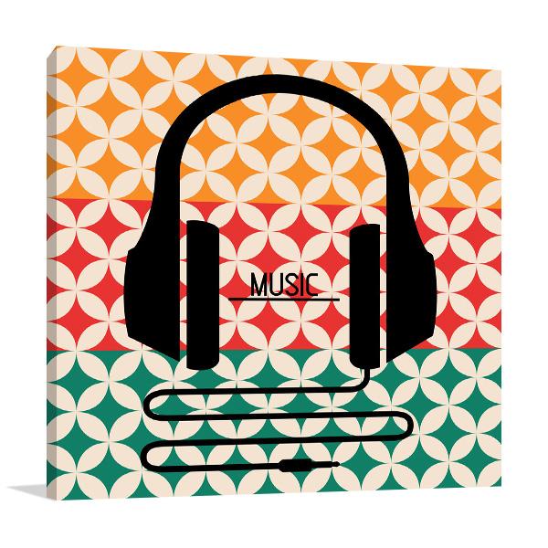 Headphones Music Retro Wall Art Print