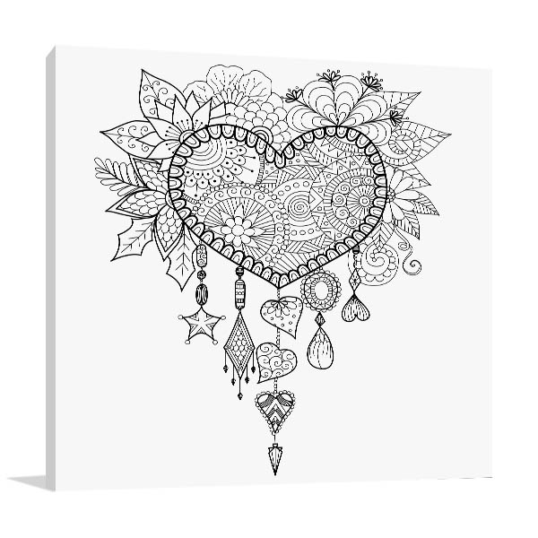 Heart Dream Catcher Prints Canvas