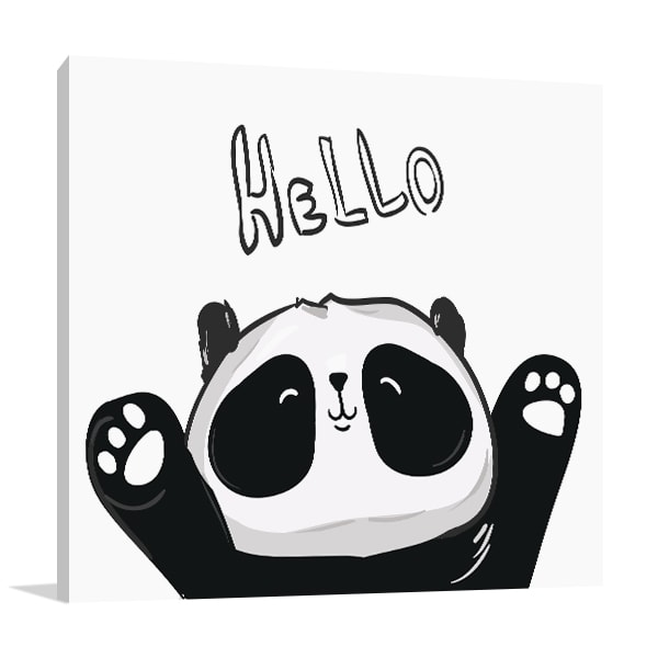 Hello Panda Canvas Prints