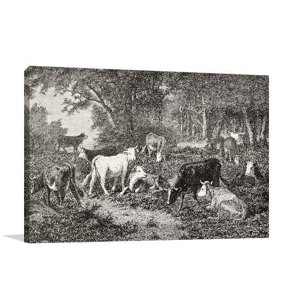 Herd Grazing in the Wood Canvas Prints