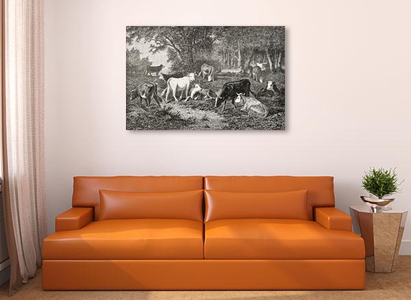 Herd Grazing in the Wood Canvas Art Prints