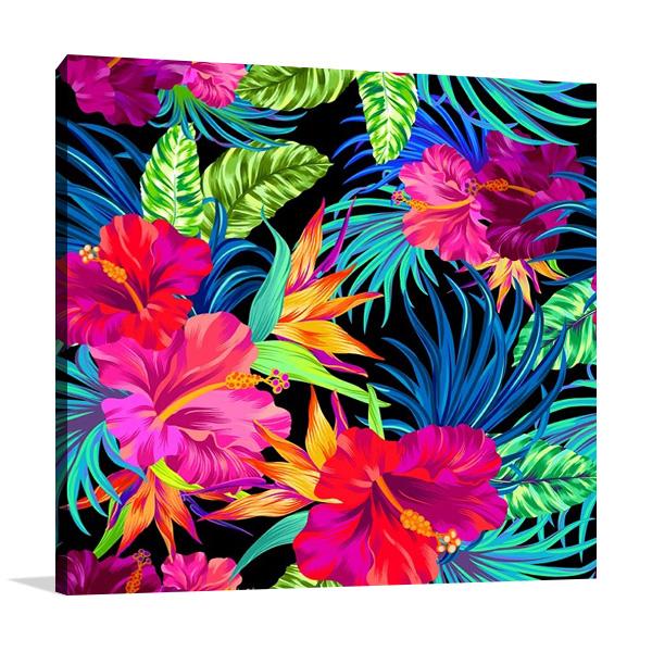 Hibiscus Palms Print on Canvas
