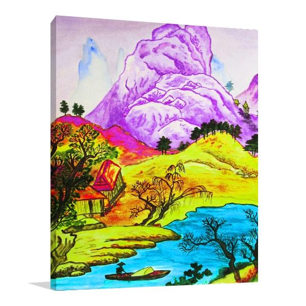 Hills River Canvas Prints