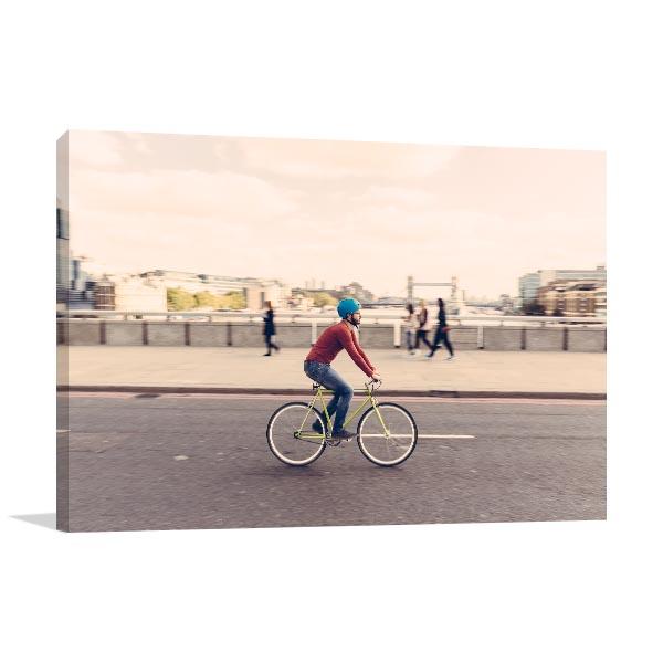 Hipster Man Cycling Canvas Art Prints