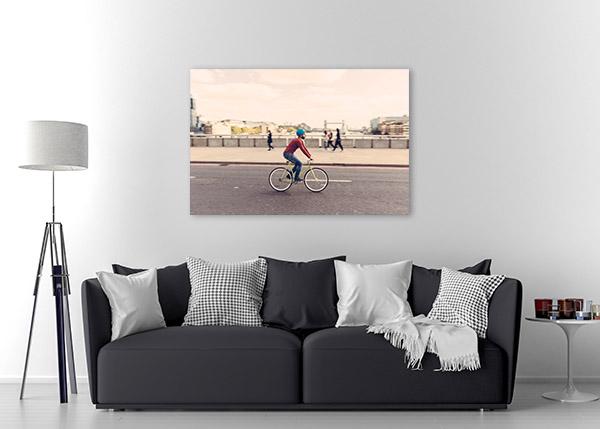 Hipster Man Cycling Canvas Prints