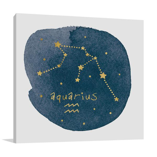 Horoscope Aquarius Wall Print