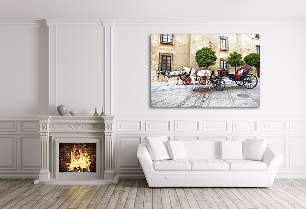 Horse Carriage Canvas Art Print on the wall