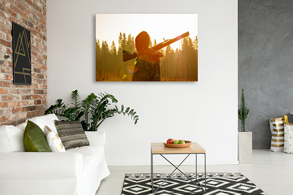 Hunter at Shotgun Canvas Art Prints