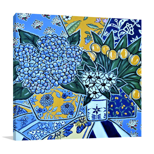 Brooke Howie | Hydrangeas and Yellow Tulips Canvas Wall Arts