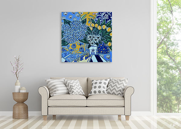 Brooke Howie | Hydrangeas and Yellow Tulips Artwork