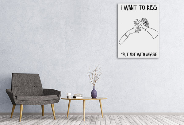 I Want to Kiss Line Picture Canvas