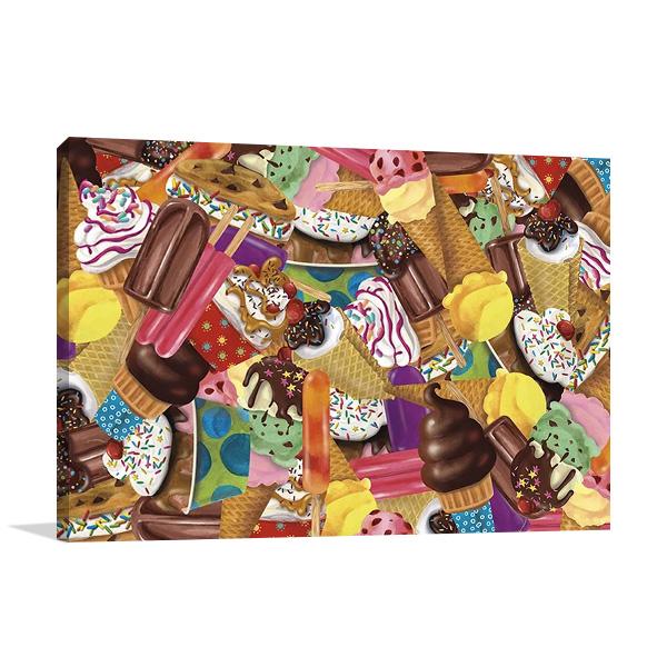 Ice Cream Collage Print Canvas