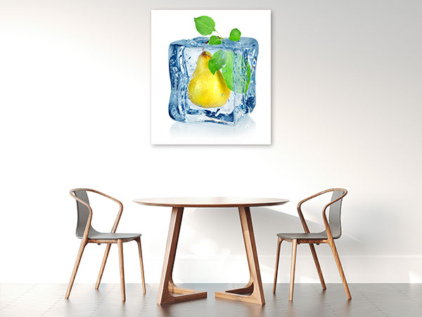 Ice Cube And Pear Canvas Art Prints