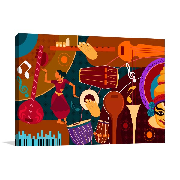 Indian Music Collage Prints Canvas