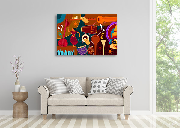 Indian Music Collage Canvas Prints