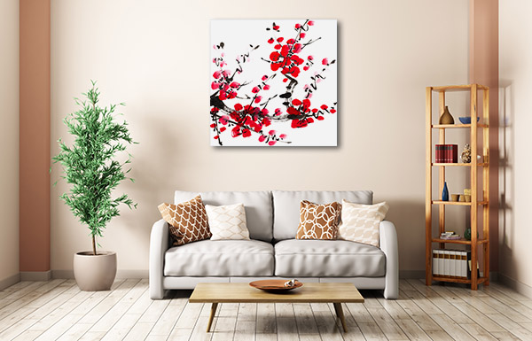 Inked Red Flower Canvas Prints