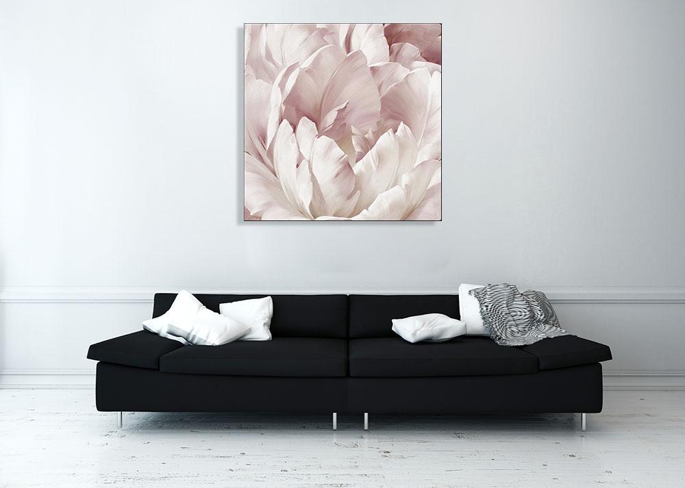 Square Pink Floral Art Canvas Print