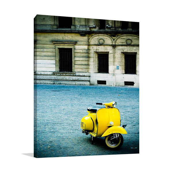 Italy Yellow Vespa Print on Canvas