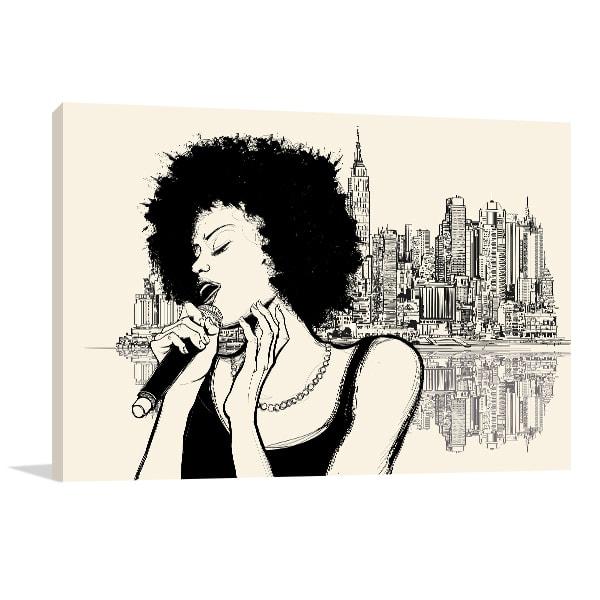 Jazz Singer Canvas Wall Art
