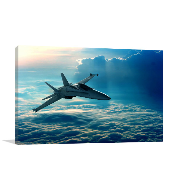 Jet Above Clouds Prints Canvas