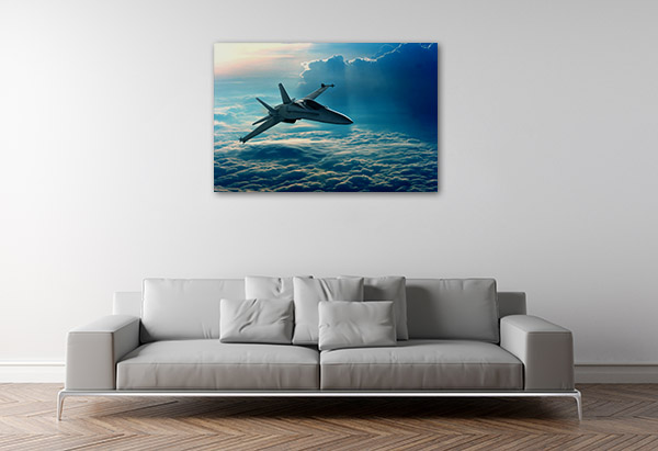 Jet Above Clouds Canvas Art
