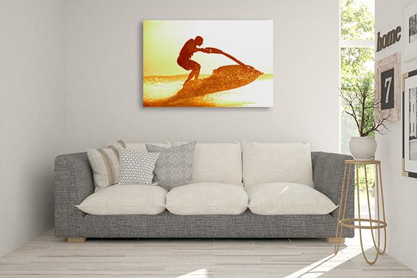 Jetski on Sunset Canvas Art
