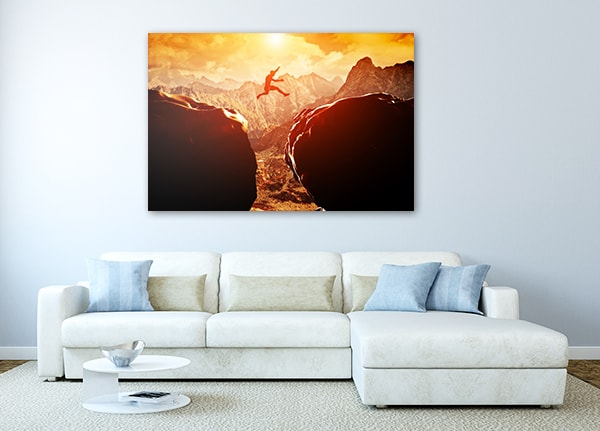 Jump on Mountain Print Art Canvas on the Wall