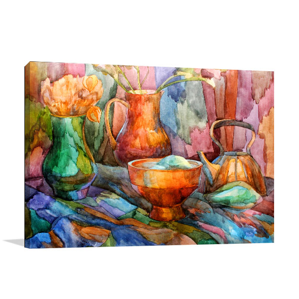 Kettle And Vases Canvas Prints