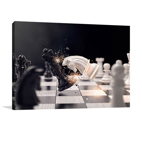 Knight Chess Attack Canvas Art