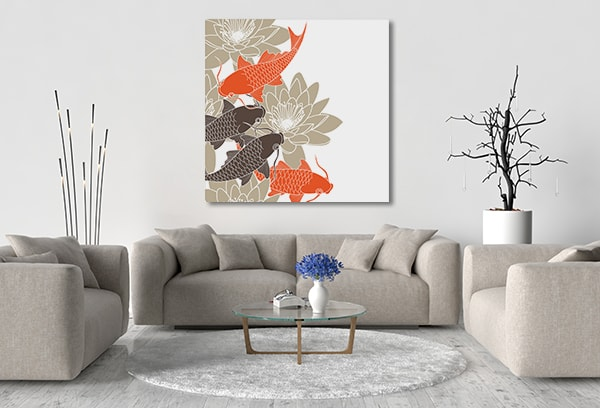 Koi Lotus Canvas Prints