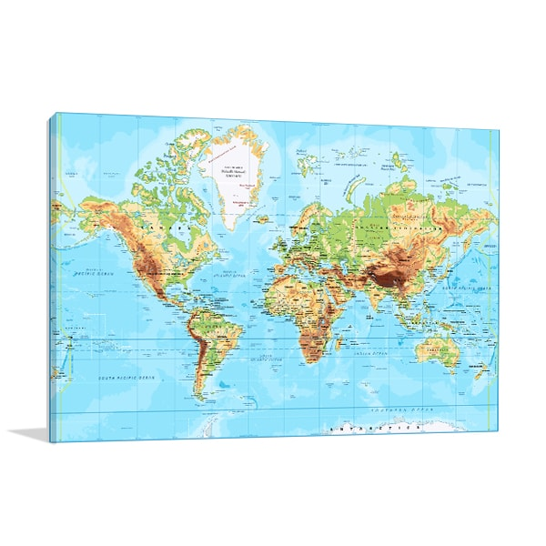 Labeled World Map Canvas Prints