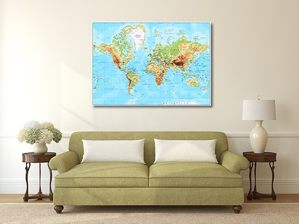 Labeled World Map Prints Canvas
