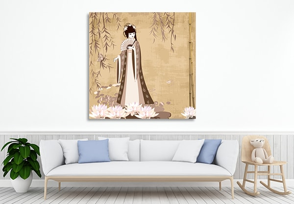 Lady in Pond Prints Canvas