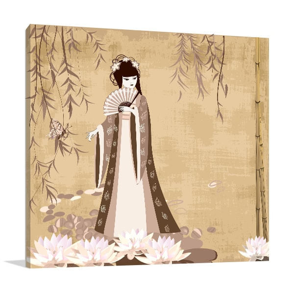 Lady in Pond Canvas Art Prints