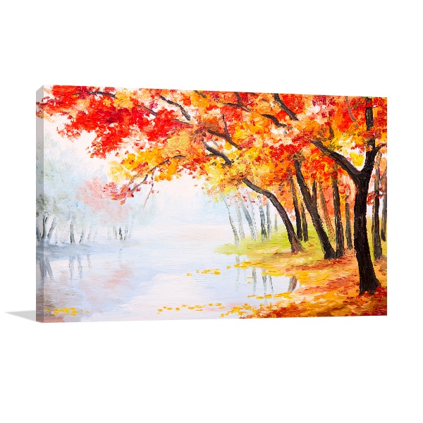 Lake and Autumn Leaves Wall Canvas