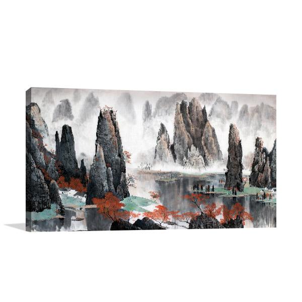 Lake and Mountains Art Prints