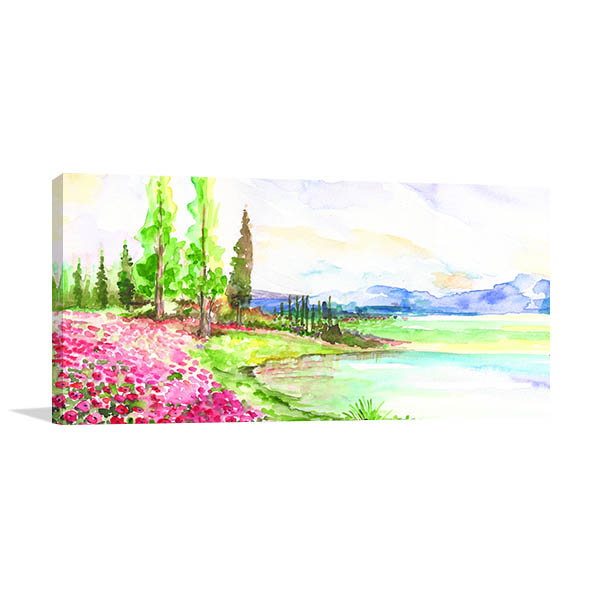Lake Forest And Sky Canvas Art Prints