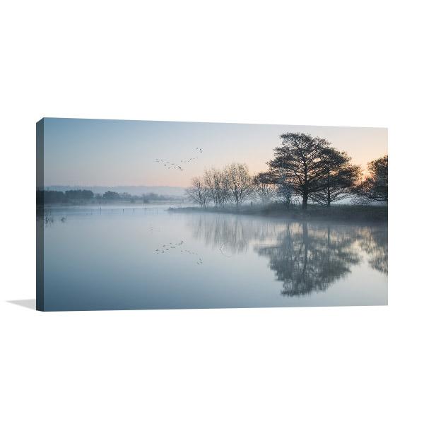 Lake In Mist Canvas Prints