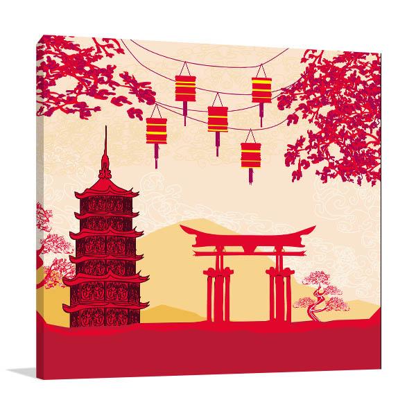 Lanterns and Buildings Print Artwork