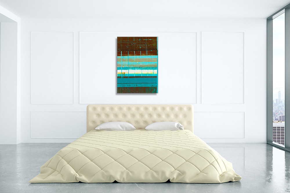 Abstract Blue Green Lines Print