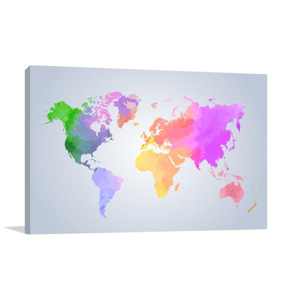 Light Watercolor Map Print Artwork
