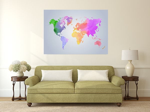 Light Watercolor Map Canvas Prints